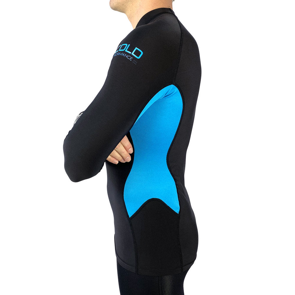 Vaikobi V Cold Performance Base layer top black-cyan side