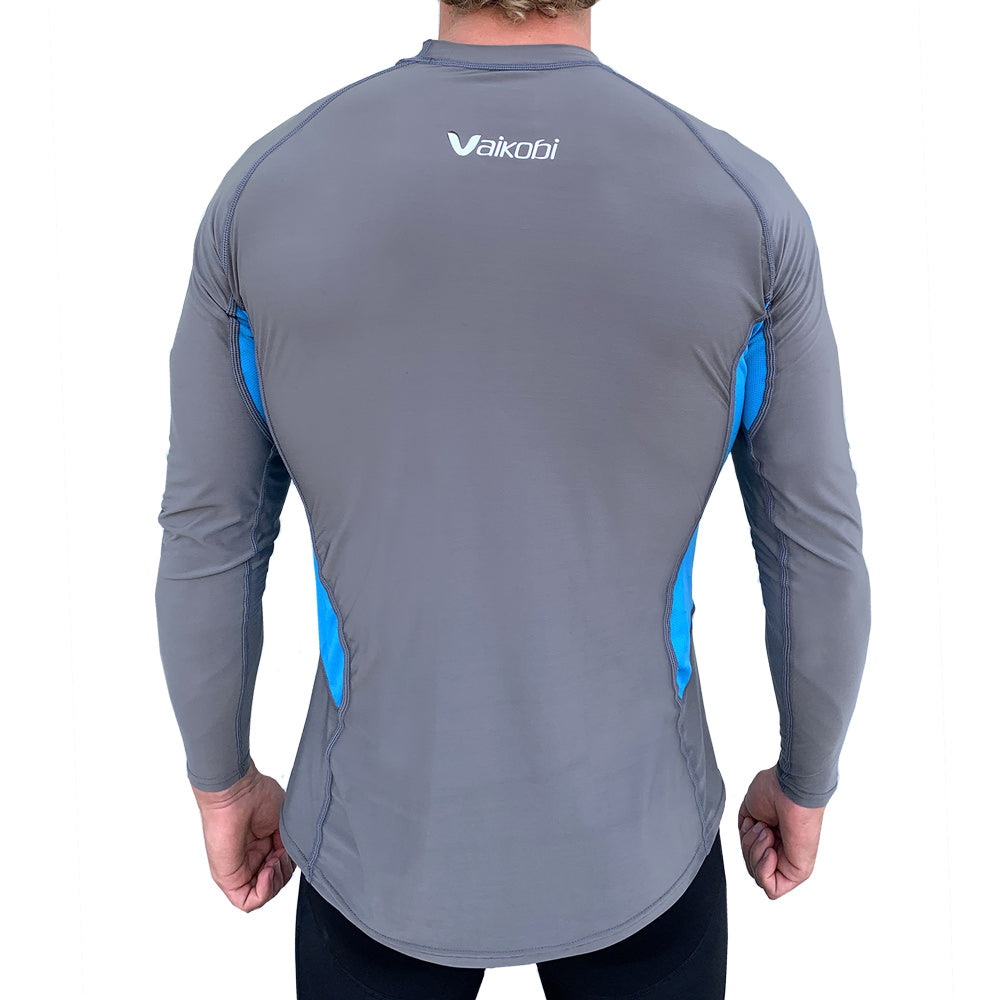 Vaikobi V Cold Performance Base layer top grey-cyan back