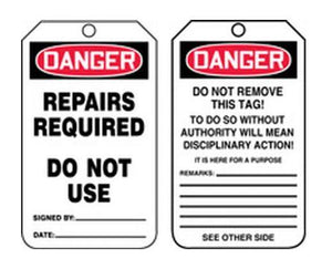 Danger Repairs Required Plastic Tag | Canada | ruggednorth.ca