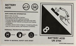UN2794 Battery Acid Decal | ruggednorth.ca