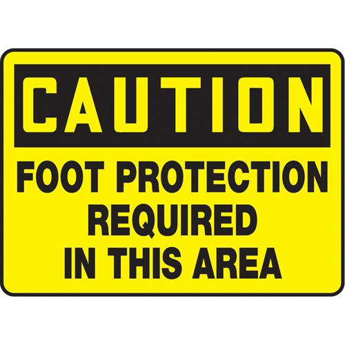 Caution Foot Protection Required Plastic Sign