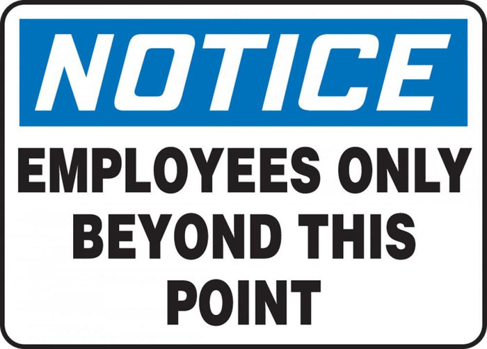 Notice Employees Only Beyond This Point Plastic Sign