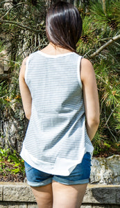 Asymmetrical Edge Striped Tank Top