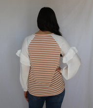Load image into Gallery viewer, Striped Ruffle Sleeve Top
