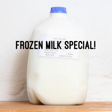 Frozen Milk Gallon Special - Raw Cows Milk