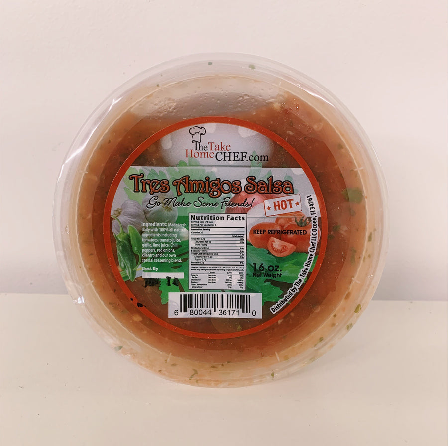 Tres Amigos Hot Salsa - Locally Made Fresh Salsa - 16oz