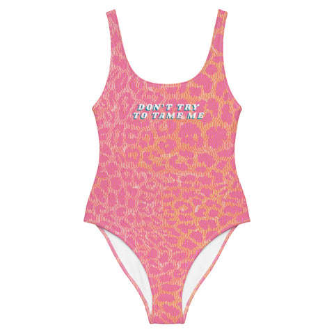 """Don't Try To Tame Me"" Pink Leopard One-Piece Swimsuit"