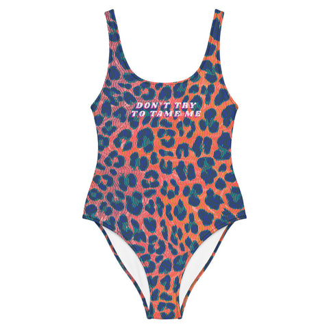 """Don't Try To Tame Me"" Rainbow Leopard One-Piece Swimsuit"