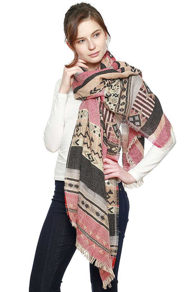 Aztec Pattern Bohemian Oblong Scarf - My Bargain Boutique - Affordable Women's Clothing