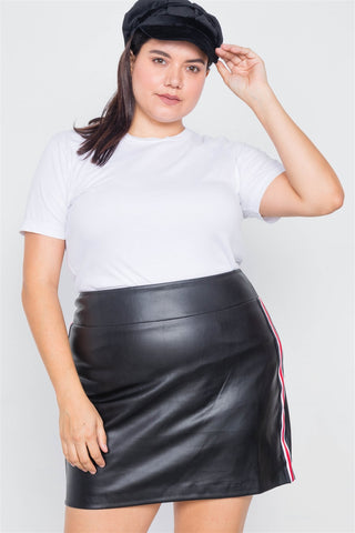 Women's Color Block Trim Mini Leather Skirt - My Bargain Boutique