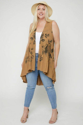 Image of Floral Sublimation Print  Sleeveless Cardigan