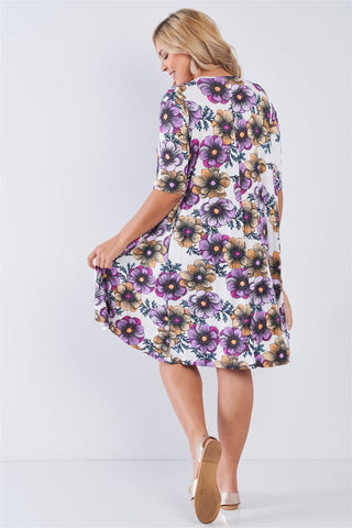 Plus White Floral 3/4 Sleeve Midi Dress - My Bargain Boutique
