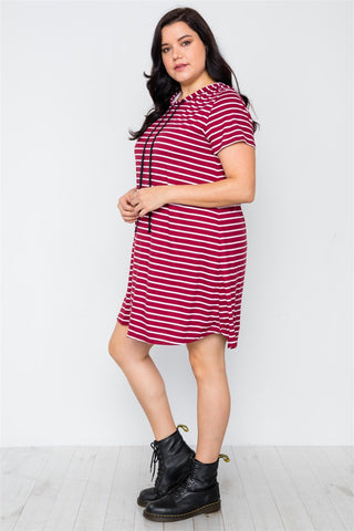 Plus Size Burgundy Stripe Short Sleeve Hooded Shirt Mini Dress - My Bargain Boutique