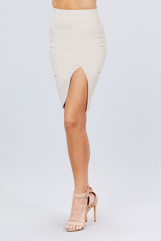Front Slit Bengaline Midi Skirt - My Bargain Boutique
