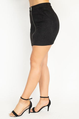 Faux Suede Front Zip Skirt - My Bargain Boutique