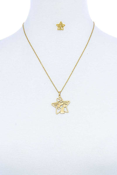Fashion Modern Star Mama Pendant Necklace And Earring Set - My Bargain Boutique