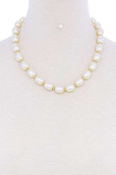 Stylish Fashion Pearl Beaded Necklace And Earring Set - My Bargain Boutique