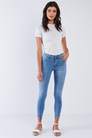 Image of Women's Asymmetrical Fringe Hem Jean Pants