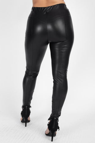 Women's High Waist Faux Leather Pants