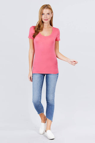Women's Short Sleeve Scoop Neck Tee - My Bargain Boutique