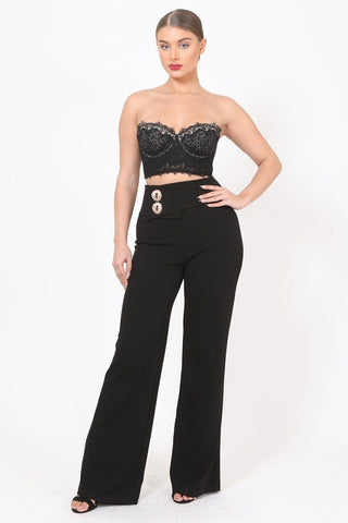 Women's Oversized Button Front Detail Pants - My Bargain Boutique