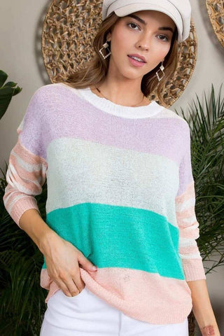 Women's Long Sleeve Color Block Sweater - My Bargain Boutique