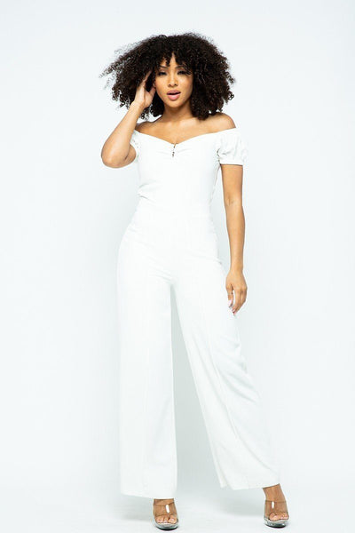 Women's Puff Sleeve Jumpsuit - My Bargain Boutique