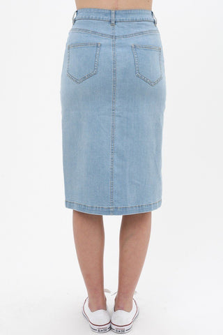 Women's Denim Mid Thigh Length Skirt - My Bargain Boutique