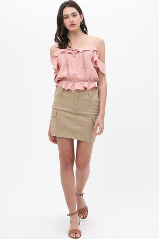 Women's Cargo Cotton Span Mini Skirt - My Bargain Boutique