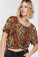 Women's Wild Animal Print Short Sleeve Tee - My Bargain Boutique - Affordable Women's Clothing