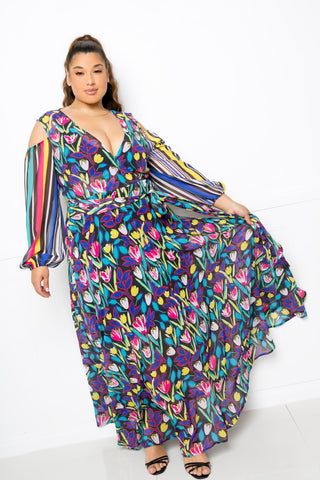 Womens' Multi Print Chiffon Maxi Dress - My Bargain Boutique