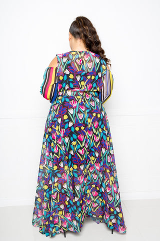 Image of Womens' Multi Print Chiffon Maxi Dress - My Bargain Boutique