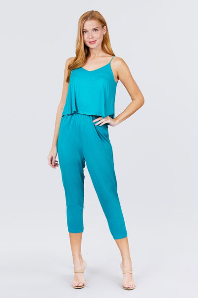 Women's Cami Layered Top Capri Knit Jumpsuit - My Bargain Boutique