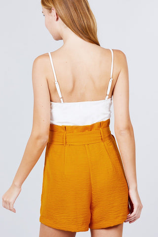 Image of V-neck W/belted Tie High Waist Cami Woven Romper