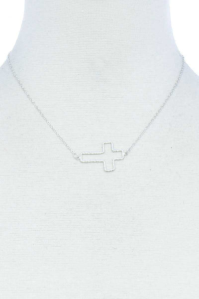 Fashion Cute Cross Out Line Pendant Necklace - My Bargain Boutique - Affordable Women's Clothing