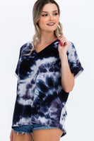 Women's Short Sleeve Tie-dye Top - My Bargain Boutique - Affordable Women's Clothing