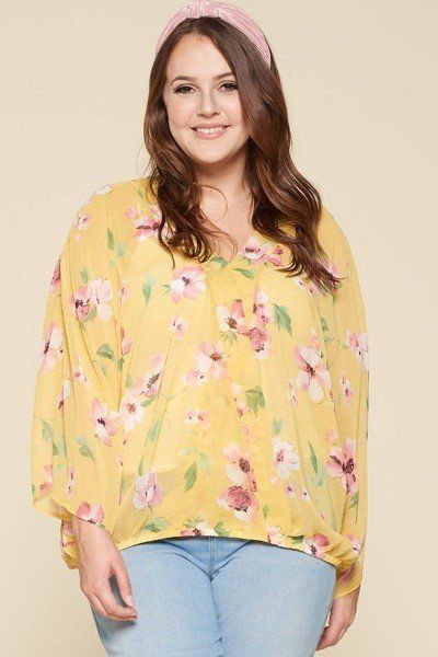 Women's Floral Chiffon Sheer Surplice Top