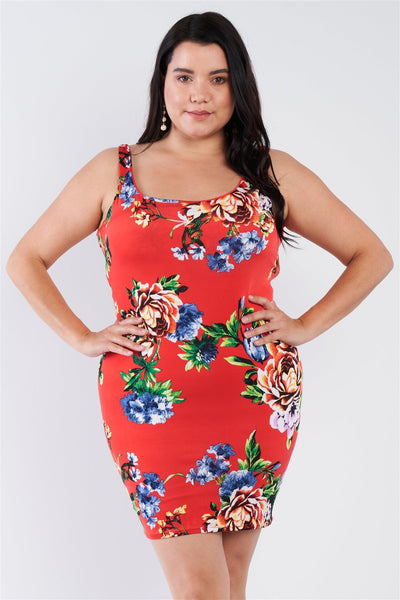 Plus Size Tomato Red Floral Print Scoop Back Cinched Center Mini Dress - My Bargain Boutique
