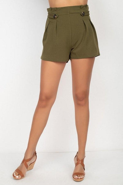 Button Tab High Rise Paperbag Shorts - My Bargain Boutique