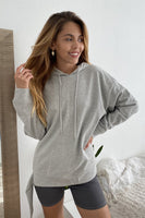 "Uneven Hem Graphic ""venice"" Pullover Hoodie - My Bargain Boutique - Affordable Women's Clothing"