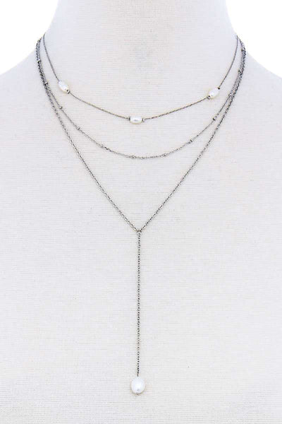 Triple Layer Pearl Drop Accent Y Necklace - My Bargain Boutique