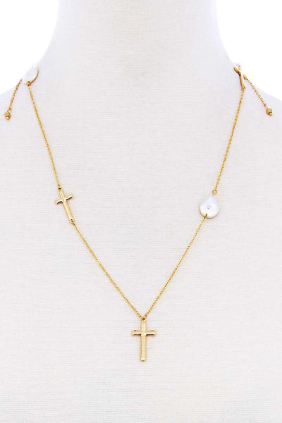 Triple Cross And Pearl Pendant Endless Necklace - My Bargain Boutique