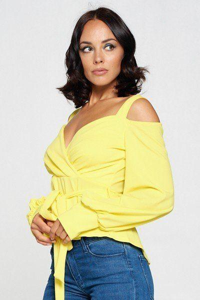 Long Sleeve Cold Shoulder Top - My Bargain Boutique