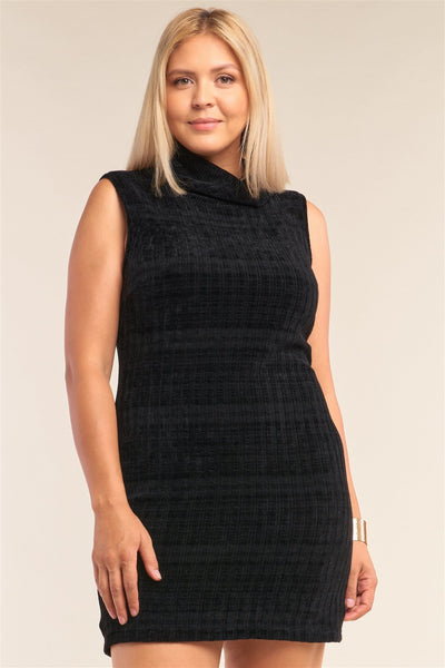 Sleeveless Ribbed Knit Semi-turtleneck Mini Dress - My Bargain Boutique