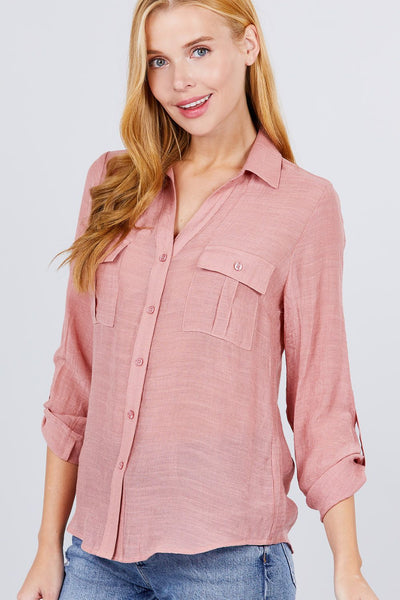 3/4 Roll Up Sleeve With Pocket Woven Shirts - My Bargain Boutique