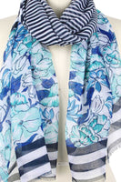 Flower Stripe Print Scarf - My Bargain Boutique - Affordable Women's Clothing