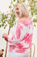 Boat Neck Long Bubble Sleeve Tie-dye Print Knit Top - My Bargain Boutique - Affordable Women's Clothing