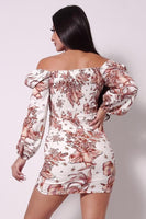 Balloon Sleeve Front Surplus Shirred Hem Floral Mini Dress - My Bargain Boutique - Affordable Women's Clothing