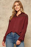 A Crinkled Woven Shirt Featuring Basic Collar - My Bargain Boutique - Affordable Women's Clothing