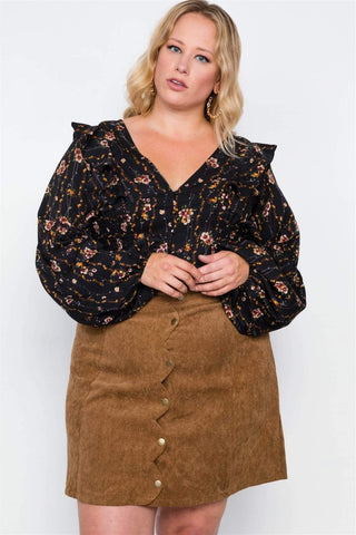 Image of My Bargain Boutique 1XL Corduroy Mini Skirt